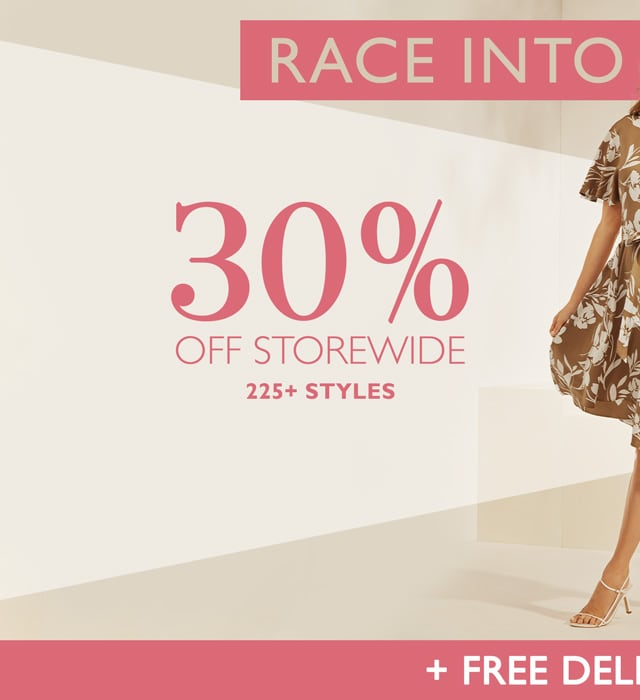 Race Into New. Ends Tuesday. 30% Off Storewide. 225+ Styles