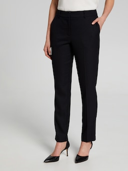 Navy Black Text Slim Suit Pant