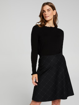 Window Pane Check Ponte Skirt