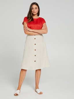 Button Through Linen Skirt