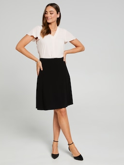 Pleat Insert Crepe Skirt