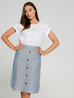 Button & Tab Linen Skirt