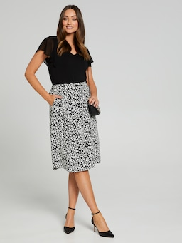 Elastic Back Full Crepe Skirt