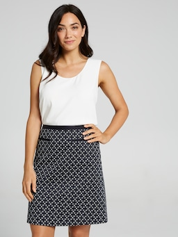 A Line Printed Sateen Skirt