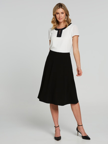 Gored Panel Crepe Midi Skirt
