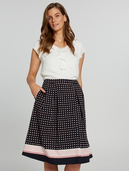 Printed Poplin Full Midi Skirt