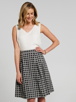Print Sateen Skirt