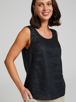 Round Neck Linen Shell Top
