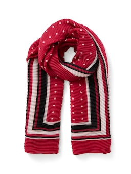 Spot Border Pleated Scarf